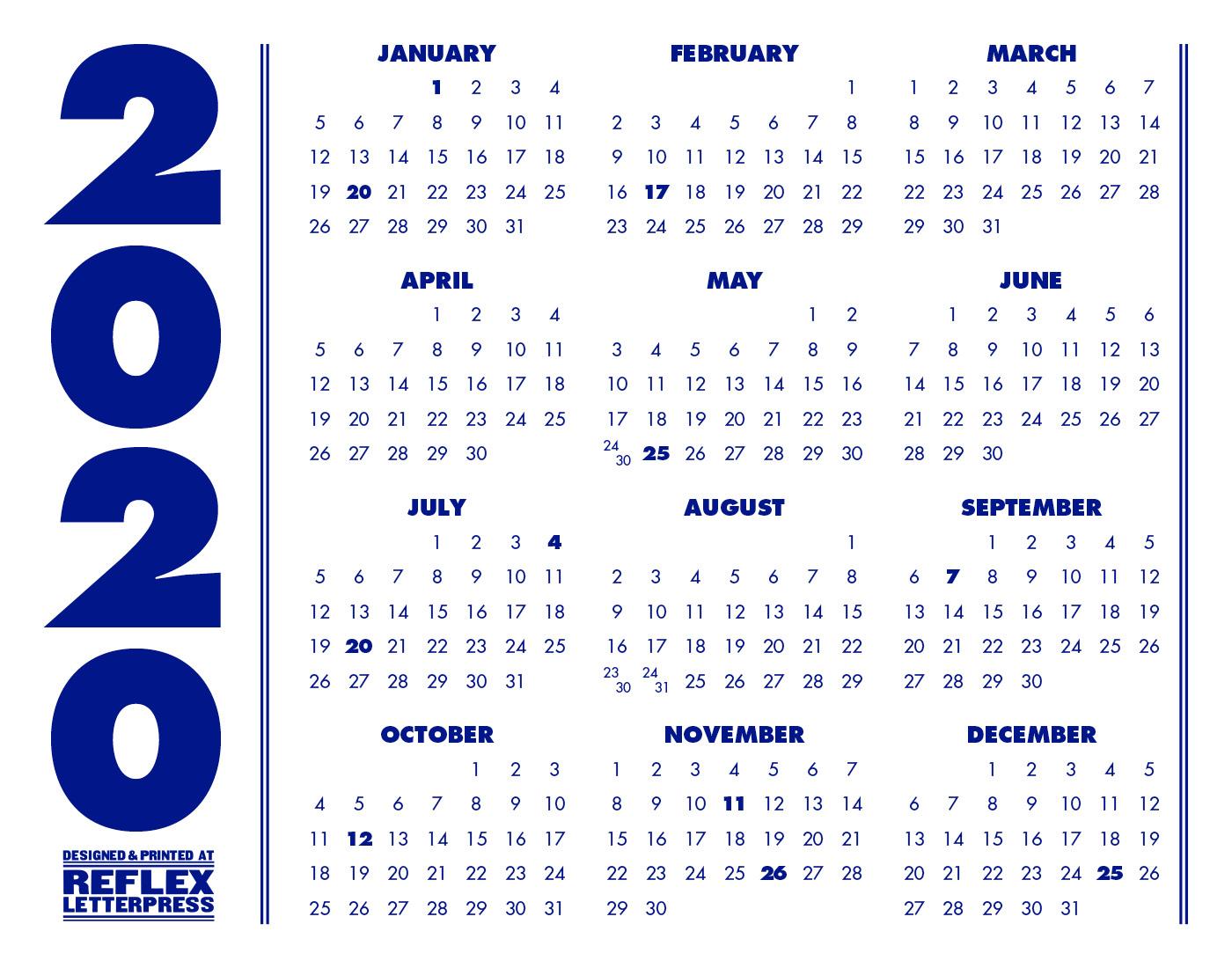 Rwu 2020 Calendar 2020 Minimalist Calendar – Reflex Letterpress