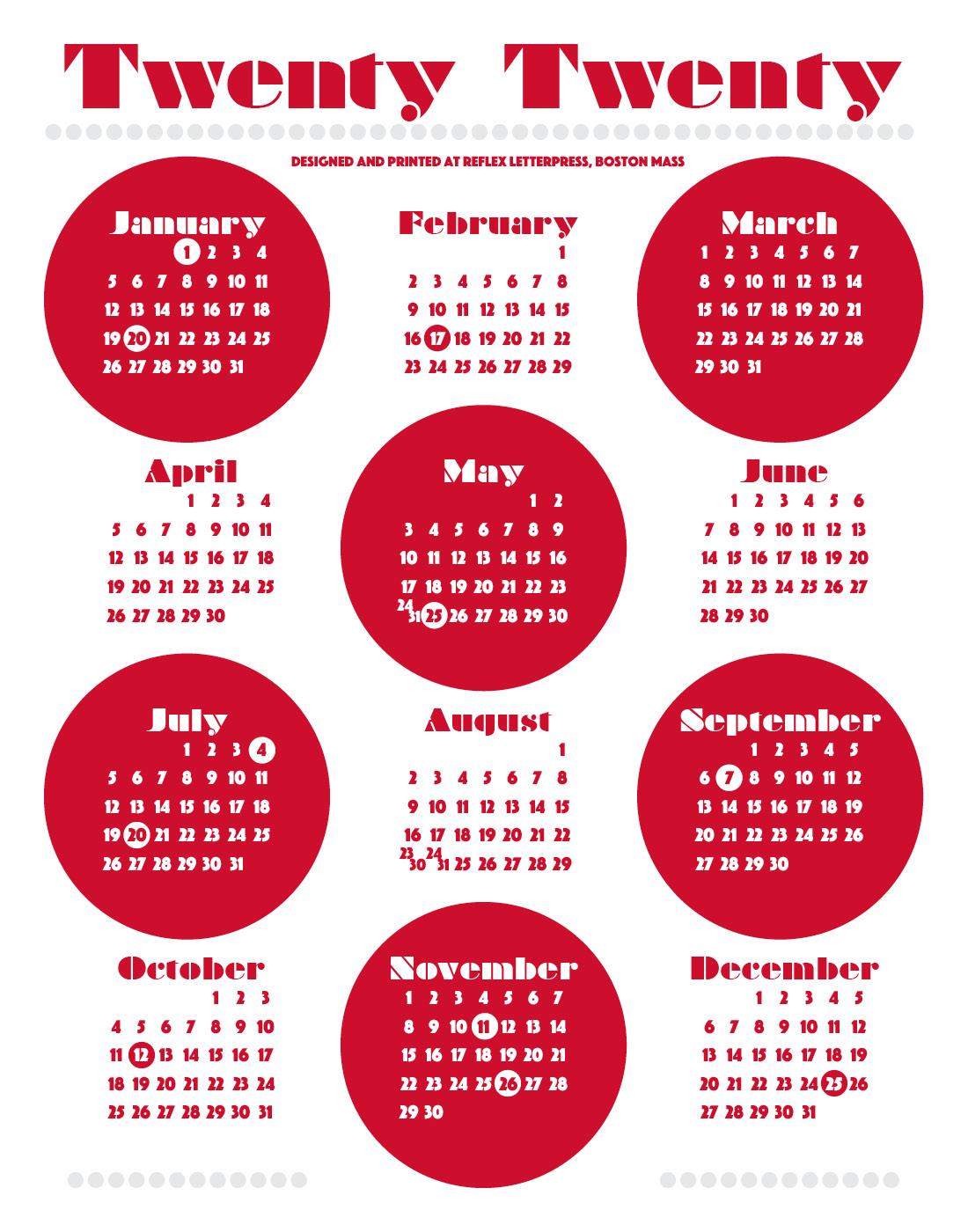 Boston Calendar February 2020 2020 Dot Calendar – Reflex Letterpress