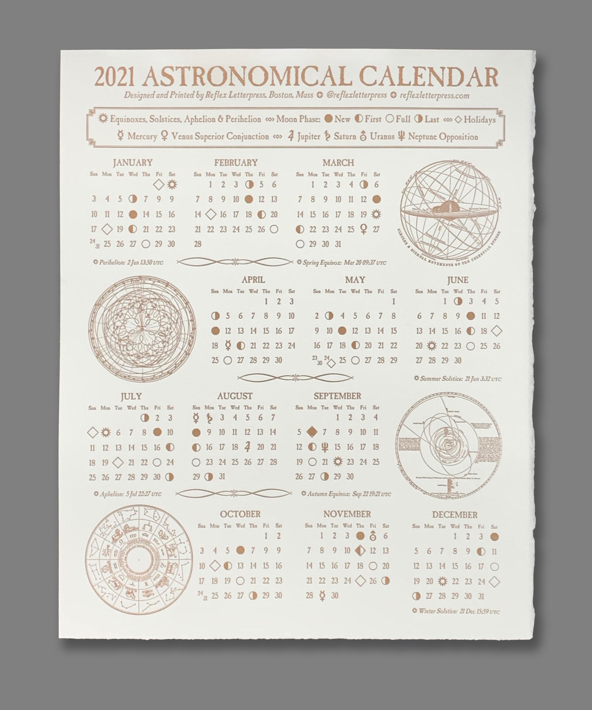 2021 Astronomical Calendar (Dozen) | Reflex Letterpress